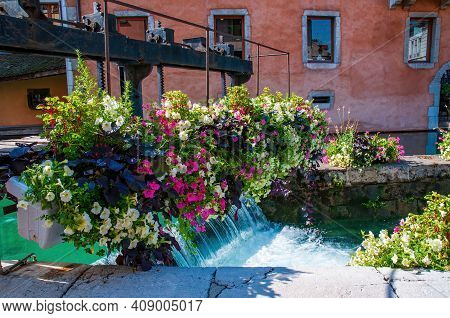 Old Sluice In The Thiou Canal In The Center Of Annecy City, France. The Mechanical Gates Regulated T
