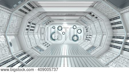 Front View Of The Interior Of A Reflective Corridor Of A Spaceship In White Light With A Closed Door