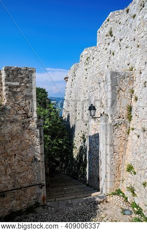 Narrow Pass Along Of Fort Royal Wall On Sainte-marguerite Island Near Cannes. Lerins Islands, French