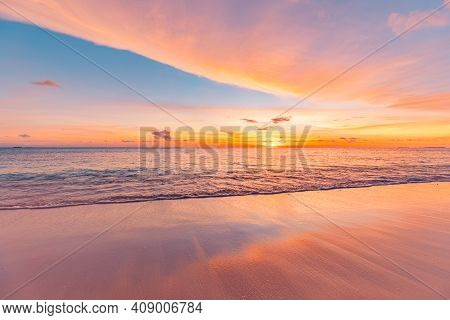 Closeup Sea Sand Beach. Panoramic Beach Landscape. Inspire Tropical Beach Seascape Horizon. Orange A