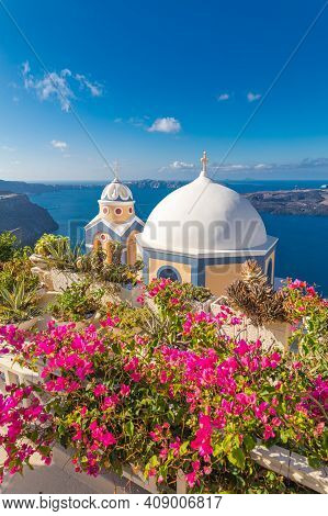 Relaxing And Romantic View With White Architecture In Santorini Greece, Caldera View Over Blue Sea A