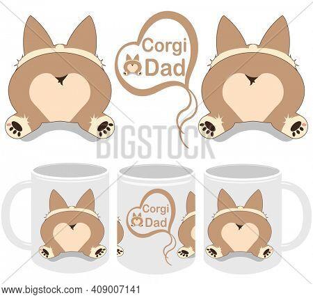 Corgi Dad Corgi Sploot  Mug Template Design and Mockup Set for Print on Demand Drop Shipping