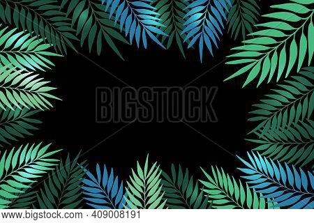 Floral Frame With Colorful Exotic Branches On Black Background. Ornate Border With Tropic Leaves. Ve