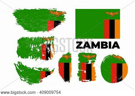 Brush Painted Grunge Flag Of Zambia Country. Independence Day Of Zambia.