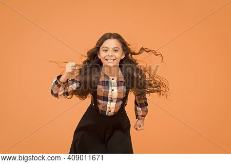 Air In Her Hair. Natural Beauty. Girl Kid Long Hair Flying In Air. Hairdresser Salon. Beauty Procedu