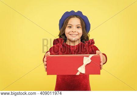 For You. Smiling Teenager Go Shopping. Seasonal Sale And Discounts. Happy Birthday. Retro Kid Fashio