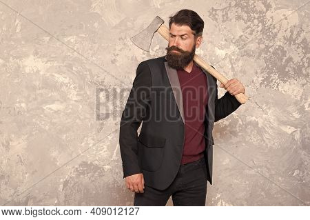 Make Something With Your Hands. Brutal Hipster Hold Axe. Trendy Hipster Style. Hipster Wear Business