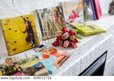 Canvas Print With Flowers. Stretched Canvas On Frame. Summer Landscape Photography. Photo Printed On