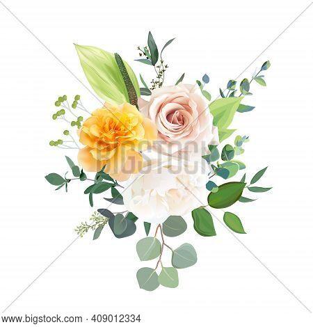 Blush Pink, Ivory White And Yellow Rose, Spring Garden Flowers, Eucalyptus, Green Anthurium, Greener