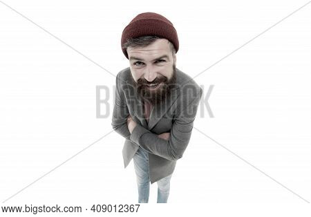 Bearded And Mustached. Bearded Man Looking Straight Into The Camera. Bearded Hipster Wearing Stylish
