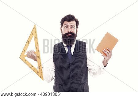 Make Geometry Interesting. School Teacher Hold Book And Triangle. Private Teaching. Bearded Man Prep