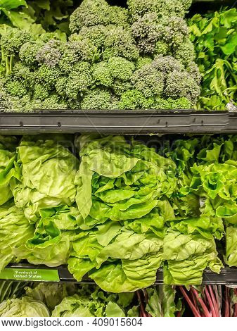 Broccoli And Leafy Greens In Grocery Store