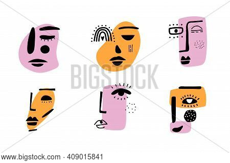 Abstract Contemporary Woman Face. Modern Trendy Beauty Sign. Female Face Symbol. Lineart Colorful Dr