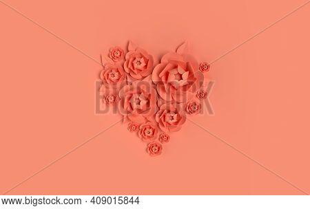 Paper Elegant Flowers On Orange Background. Valentine's Day, Easter, Mother's Day, Wedding Greeting