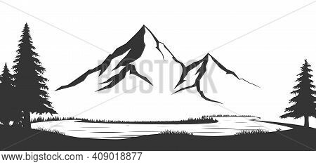 Mountains Vector.mountain Range Silhouette Isolated Vector Illustration. Mountains Silhouette.