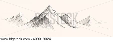 Mountains Ranges. Vector Panorama Sketch Illustration. Mountains Sketch Vector Illustration