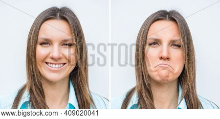 Happy And Sad Woman Face. Young Woman Expressing Different Emotions. Different Moods Of Same Woman.
