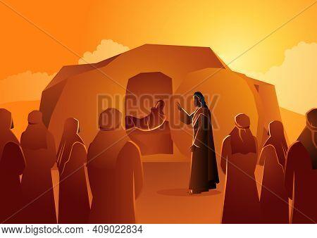 Biblical Vector Illustration Series, Jesus Raises Lazarus From The Dead