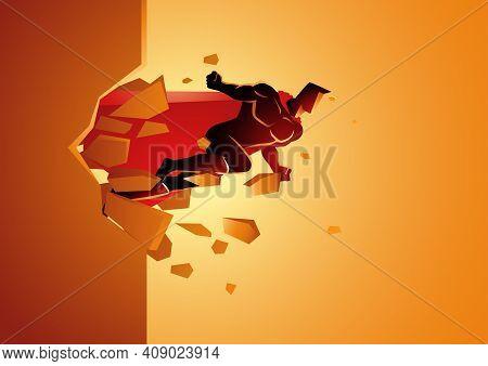 Graphic Vector Of A Superhero Break Through Concrete Wall