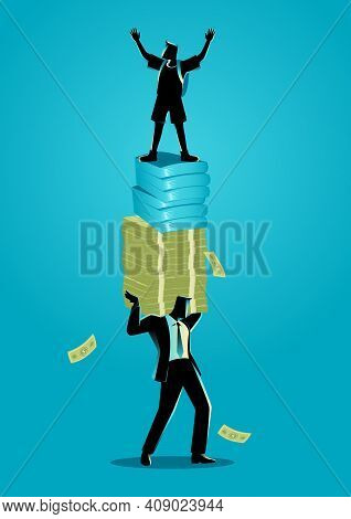 Vector Illustration Of Businessman As A Father Carrying Money, Books And His Child. Education Expens