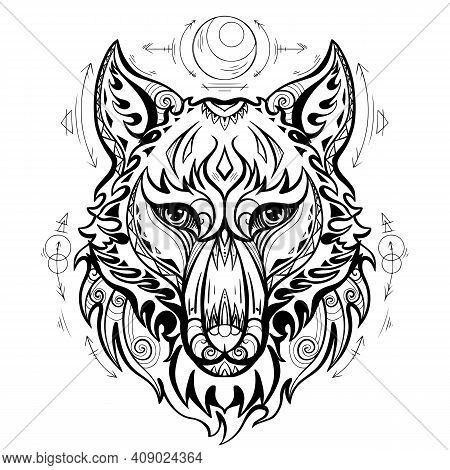 Wolf Head Front View With Ethnic Decorations And Spiritual Symbols Of The Moon And Arrows. Predator
