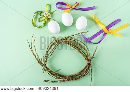 Diy And Kid's Creativity. Step By Step Instruction: How To Make Easter Wreath Or Nest From Twigs. St