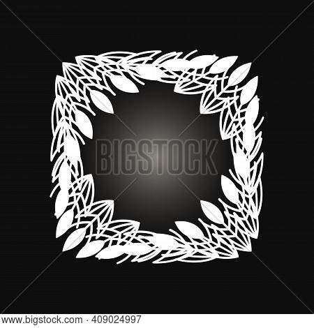 White Frame With Lace Ornament In Circle On Black Background. Art Deco. Luxury Round Mandala, Hand D