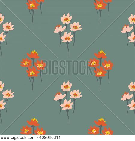 Darling Bunch - Floral Seamless Vector Pattern. A Bunch Of Four Tiny Painted Flowers Forming A Diamo