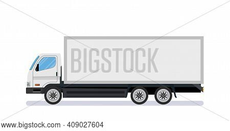 White Long Truck Template With Blank Area, Side View. Isolated On White Background. Delivery Truck V