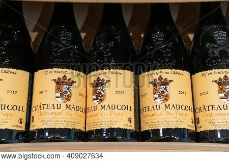 Tyumen, Russia-january 31, 2021: Chateau Maucoil, Intense Wine Of High Quality, Made From Grapes Of