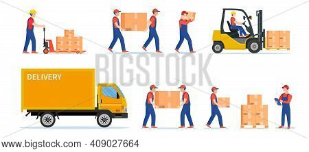 Warehouse Workers With Parcels Boxes, Delivery And Shipping, Workers Carrying Parcels, Forklift Truc