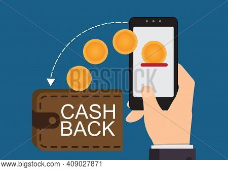 Cash Back On Money Bag With Phone In Hand And Gold Dollar Coins, Payments, Electronic Transactions A