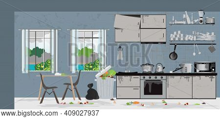 Dirty Kitchen After Cooking Composition With Dirt Unwashed. Dirty Kitchen Full Or Waste In Kitchen F