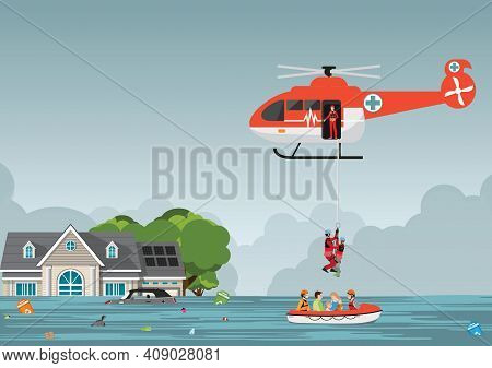 Rescue Team With Rescue Helicopter And Boat Rescue In Mission Rescue At Sea Or Flood, Vector Illustr