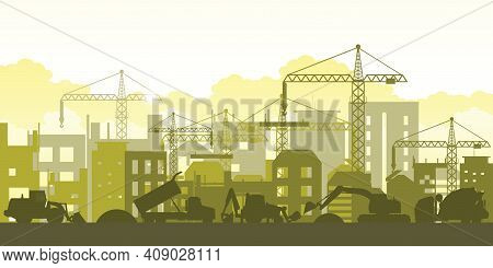 Silhouette Of Building Work Process With Construction Machines. Process Of Construction Big Building