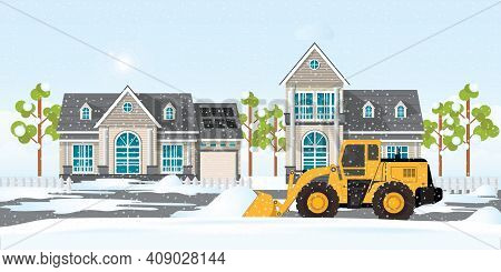 Snow Plow Truck Cleaning Snows Area Streets At Village Home, Winter Snow Removal, Concept Modern Cit