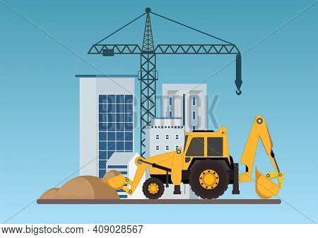Construction Of Building.crane With Bulldozer, Machinery Working In Area.under Construction Building
