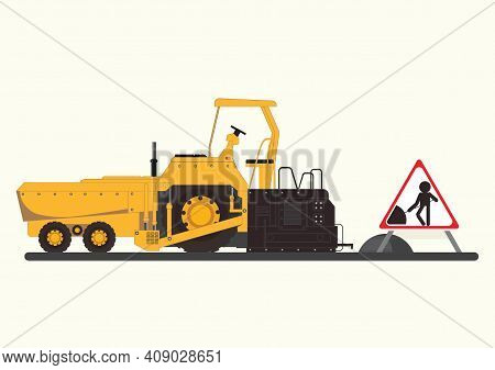 Repair The Road Surface. Asphalt Paver Makes The Paving On Street.road Under Construction Flat Style