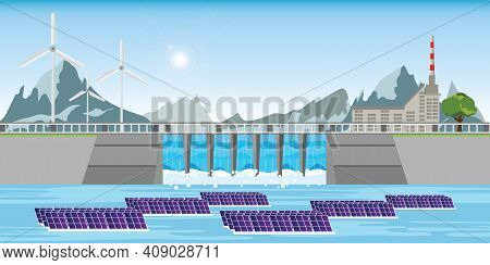Solar Power Station Float On Water,ecological Energy Renewable Solar Panel Plant Electric Power,floa