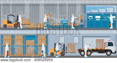 Specialist In Hazmat Suit Cleaning And Disinfecting Coronavirus Cells At The The Factory, Public Tra