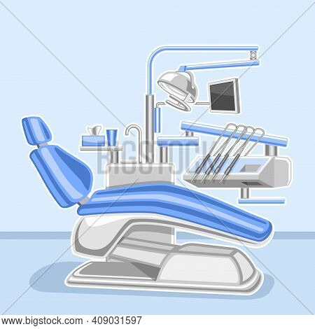 Vector Poster For Dental Clinic, Square Design Signage With Illustration Of Interior Dental Cabinet,