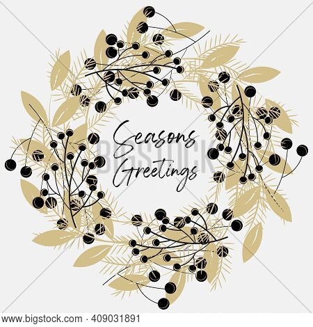 Seasons; Greatings; Gold; Happy; Merry; Christmas; Decorative; Graphic; Decor; Wreath; Leaf; Vector;