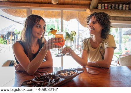 Two Brunettes Sit Clinking Glasses In Bar