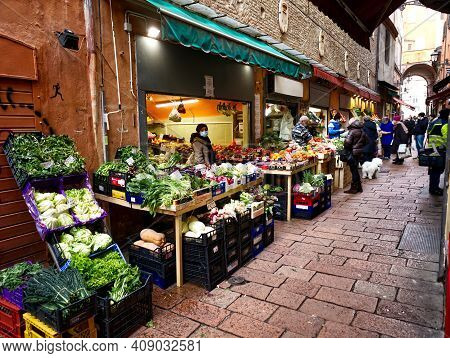 Bologna - Italy - January 4, 2021: Street Market Il Quadrilatero Located In The Center Of Bologna An