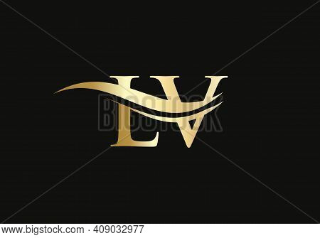 Initial Gold Lv Letter Logo Design. Lv Logo Design With Creative And Modern Trendy
