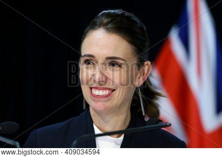 Wellington, New Zealand, December 2020, New Zealand Prime Minister Jacinda Ardern In Meeting