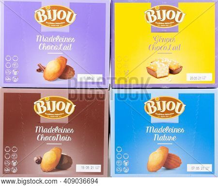 Bordeaux , Aquitaine France - 02 16 2021 : Bijou Logo Brand And Text Sign On Boxes Bar Cake Madelein