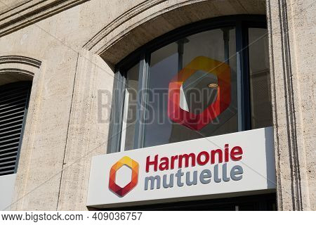 Bordeaux , Aquitaine France - 02 16 2021 : Harmonie Mutuelle Text Sign And Brand Office Logo Of Fren