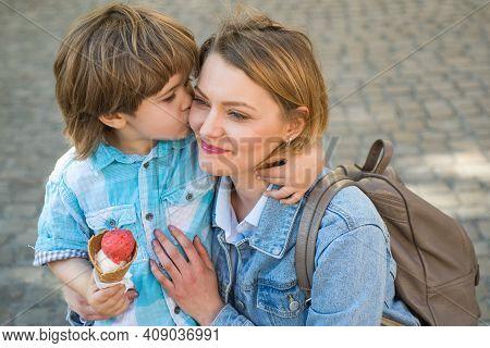 Mother Child Relationships. Kid Boy Eat Ice Cream Outdoor. Junk Food. Delicious Summer Icecream