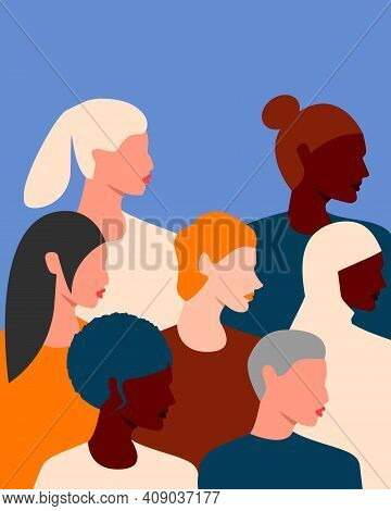 Womens Faces Of Different Ethnic Groups And Cultures. International Womens Day. 8th March. Womens Fr